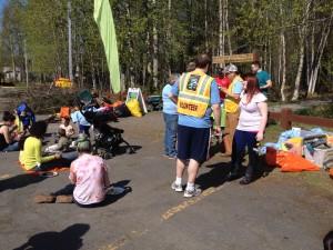 Volunteers enjoy lunch after cleaning up Davis Park