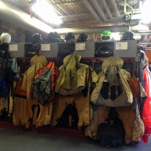 The gear and Kevlar suits smokejumpers wear is ready to go. They have to be ready for a call to a fire at a moments notice. (Photo by Emily Schwing, KUAC - Fairbanks)
