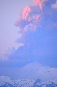 Ash plumes out of Pavlof Volcano on June 2. (Photo by Christopher Diaz)