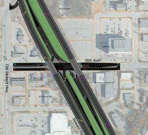 "A design option for the 36th and Seward intersection called a ""Hybrid SPUI."""