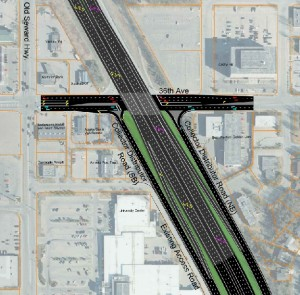 "A design option for the 36th and Seward intersection called a ""Half SPUI."""