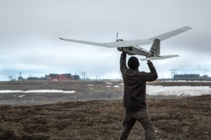Pilot launches unmanned aircraft on North Slope. Photo courtesy of BP.