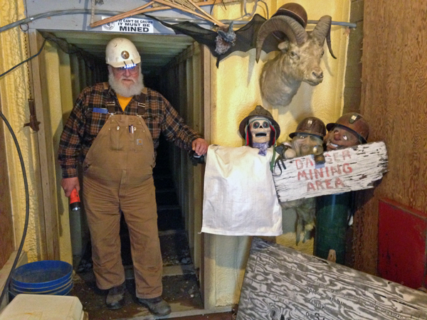 Clutch at the entrance to his drift mine in Ester. (Photo by Molly Rettig)