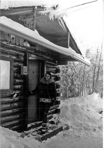 Ritchie Musick at her first cabin in Fairbanks in 1966.