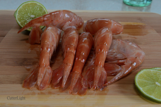 Alaska's prized spot prawns, ready to be peeled, seasoned and treated every so briefly and gently with heat.