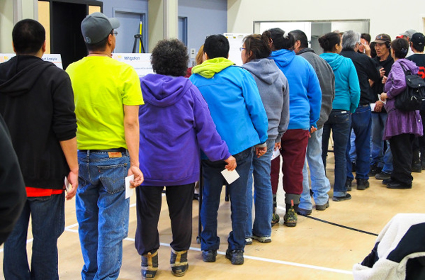 AIDEA is holding a large community meeting, it's 30th in the outreach process ahead of preparing an Environmental Impact Statement. Earlier this month there was a tri-village meeting in Kobuk. (Photo by  Zachariah Hughes, KNOM News)