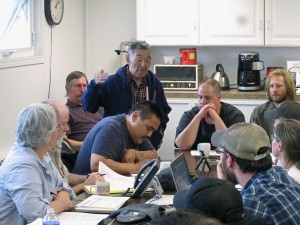 The Kuskokwim Salmon Management Working Group discusses the first 6″ gillnet openings. (Photo by Ben Matheson/KYUK)
