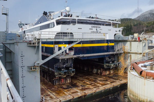 The M/V Chenega undergoes repairs in drydock at the Ketchikan Shipyard earlier this year. (Photo by Heather Bryant/KTOO)