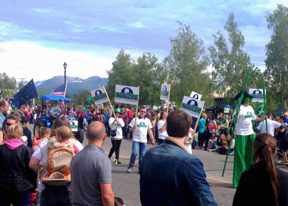 Volunteers for Lt. Gov. candidate Dan Sullivan march in the Colony Days parade on June 7, 2014. (Alexandra Gutierrez/APRN)
