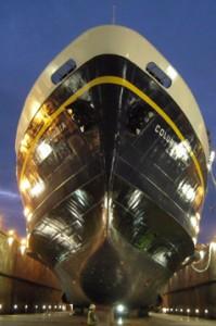 Columbia in dry dock. (Photo courtesy Alaska Department of Transportation)