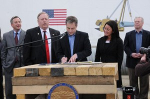 Governor Sean Parnell signed in-state gasline legislation at the Pipeline Training Center in Fairbanks on May 8. Pictured: Representative Jay Ramras, Representative Mike Chenault, Governor Sean Parnell, Senator Lesil McGuire, and Scott Heyworth (Photo from Governor's Office press release)