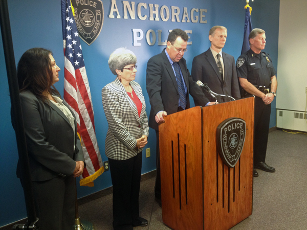 Law enforcement officials address the media regarding updates in the Joshua Wade case.  (Photo by Josh Edge, APRN - Anchorage)