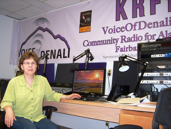 Athabascan Fiddlers Association General Manager Ann Fears in the KRFF studio on College Road in Fairbanks. )Photo by Tim Ellis/KUAC)