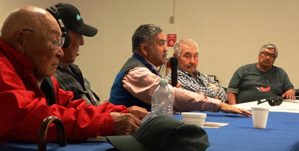 Elder panel at Yupiit Nation Fish Forum in Bethel. )Photo by Doug Molyneaux)