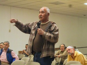 Phillip Peter of Akiachak speaks at a Yupiit Nation meeting. (Photo by Ben Matheson / KYUK)