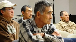 Participants listen at a Yupiit Nation Fish Forum in Bethel. (Photo by Doug Molyneaux)