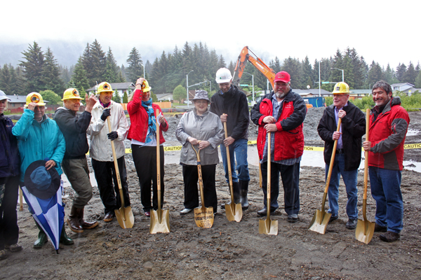 The City and Borough of Juneau and Friends of the Juneau Public Libraries held a ceremonial groundbreaking for the Mendenhall Valley Public Library at Dimond Park on Friday. (Photo by Lisa Phu/KTOO)