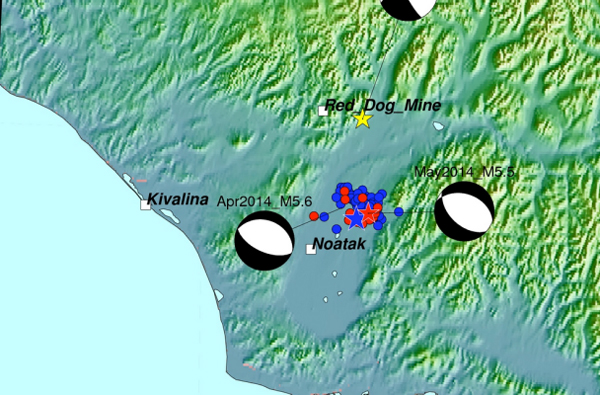 Map for April and May 2014 Earthquakes in Northwestern Alaska. (Image courtesy Alaska Earthquake Center)