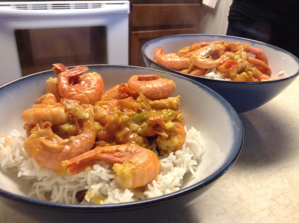 The finished product - shrimp curry.