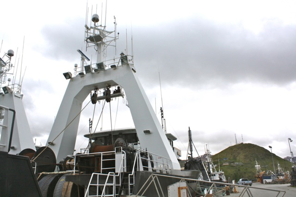 F/V Auriga prepares for the start of B season. (Lauren Rosenthal, KUCB - Unalaska)