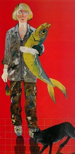 Joan Brown, Self-Portrait with Fish and Cat (1970).