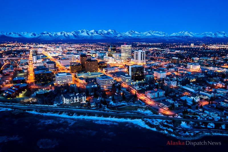 A spectacular early spring sunset over downtown Anchorage, Alaska's largest city on April 25, 2012.