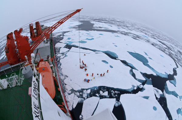 Drift ice camp in the middle of the Arctic Ocean as seen from the deck of icebreaker XueLong, July 2010. Photo: Timo Palo via Wikimedia Commons.