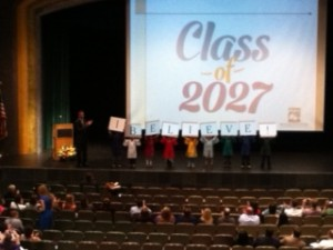 Graff introduces members of the Class of 2027 during the State of the Schools speech.