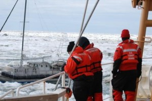The Healy broke through Arctic ice to reach the S/V Altan Girl near Barrow on Saturday. /Credit: USCGC Healy