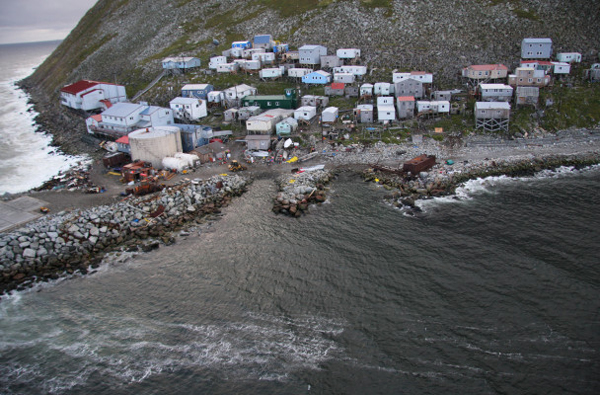 Little Diomede sits on the border of Russia and the United States. Photo: U.S. Coast Guard Petty Officer Richard Brahm, August 25 2008.