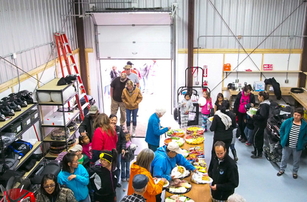 Residents and visitors celebrated the opening of a new Search and Rescue facility in Golovin. (Photo: Zachariah Hughes, KNOM)