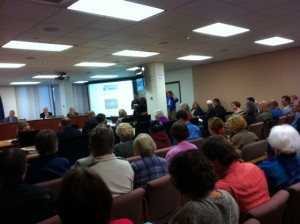 People packed the room to listen to Enstar's explanation of the precipitous rate increase.