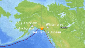 The Alaska Earthquake Information Center says the earthquake occurred at 3:49 a.m. Thursday in an area about 62 miles northwest of Yakutat. (Credit U.S. Geological Survey)