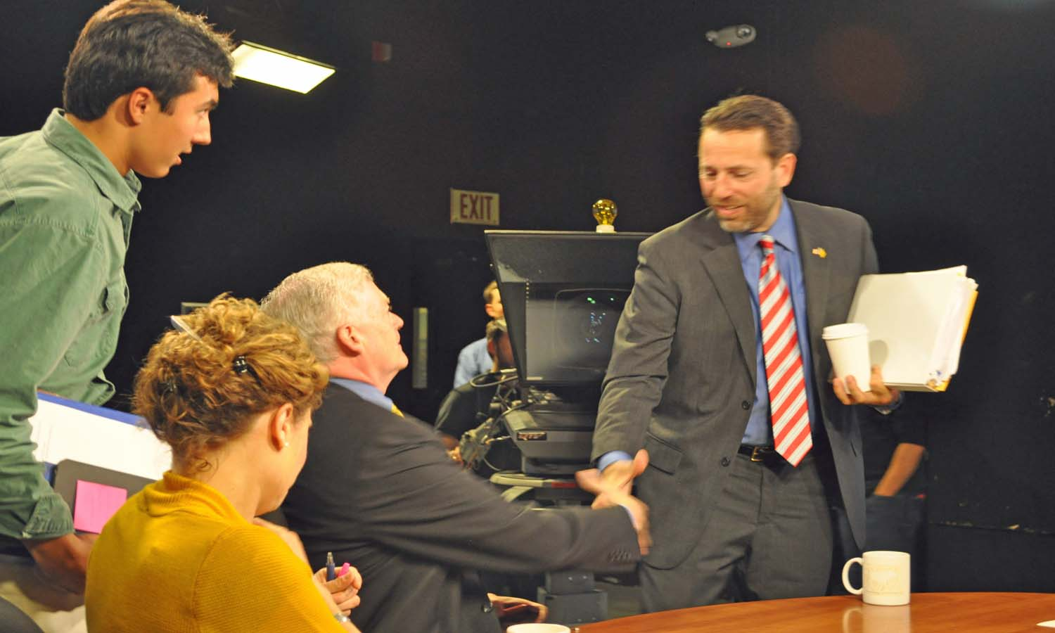 JOE MILLER and MEAD TREADWELL SHAKE HANDS AFTER DEBATE