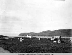 Kashega Village on Unalaska Island was deserted after residents were forcibly relocated during WWII. (Courtesy: UAA Archives)