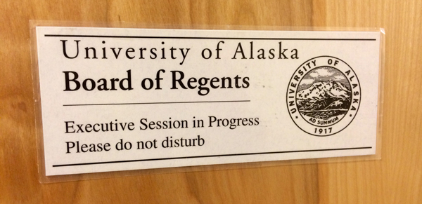 The University of Alaska Board of Regents met in Anchorage for an executive session. At the end of the meeting, they went into public session and voted 9-1 to rescind President Pat Gamble's retention bonus. (Photo by Josh Edge, APRN - Anchorage)