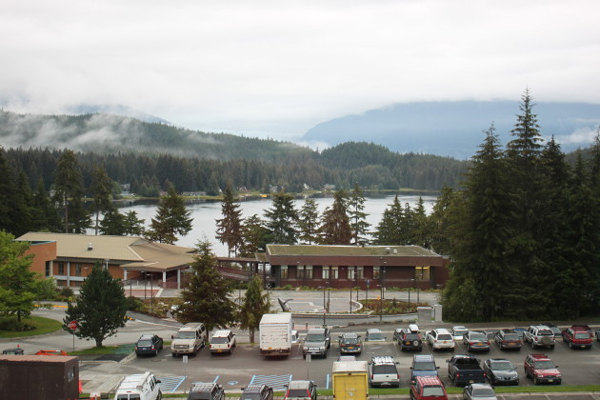 The view of Auke Lake from freshman Delaney Jones' fifth floor dorm room. (Photo by Lisa Phu/KTOO)
