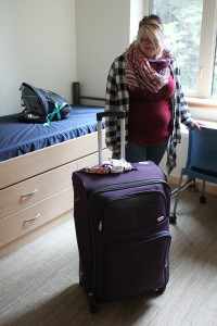 While other students arrived at college with a carload of belongings, Samantha Ferguson moved with only one suitcase. (Photo by Lisa Phu/KTOO)