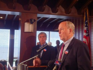 Bill Walker (rt) addresses a press conference about his decision to join Byron Mallott (lft) on a Unity Ticket.