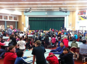 Students eat lunch at Begich Middle School.