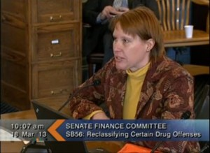 Kris Sell testifying in March on behalf of the Alaska Peace Officers Association. (Image courtesy Gavel Alaska)