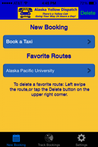 A screenshot of the Alaska Yellow Dispatch app.
