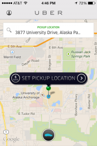 A screenshot of the Uber app on an iPhone.