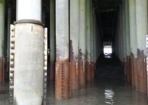 The Anchorage Port's corroded steel pilings.