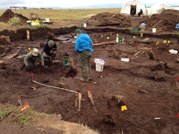Students from Scotland excavating at the Araliq site. (Photo by Charles, KYUK - Bethel)