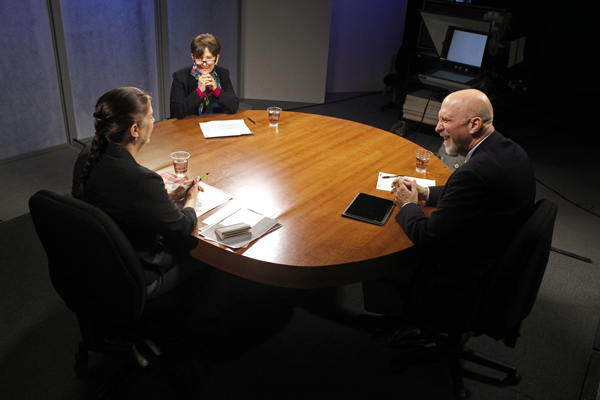 Host Lori Townsend (left), speaks with retired judge Elaine Andrews (middle), and retired Alaska Supreme Court Chief Justice Walter Carpeneti (right) on Alaska Edition. (Photo by Josh Edge, APRN – Anchorage)