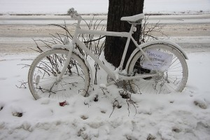 Ghost bike by Madzia Bryll, Wikimedia Commons