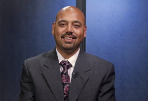 Anand Dubey (R) is a candidate for House District 21. (Photo by Josh Edge, APRN - Anchorage)