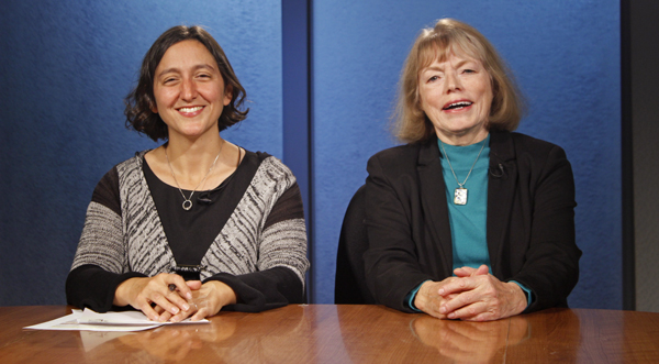 Anne Hillman (left) and Ellen Lockyer (right) host legislative candidates for the 2014 edition of Running. (Photo by Josh Edge, APRN - Anchorage)