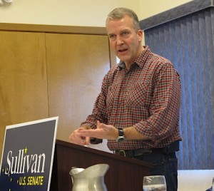 US Senate candidate Dan Sullivan campaigned in Bethel October 17, 2014. Photo by Ben Matheson / KYUK.